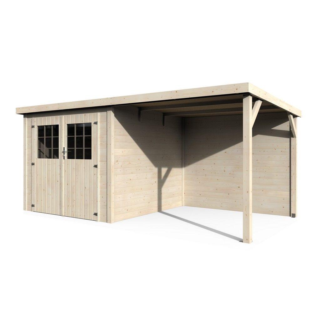 abri de jardin bois toit plat auvent paradis 11 m ep 19 mm