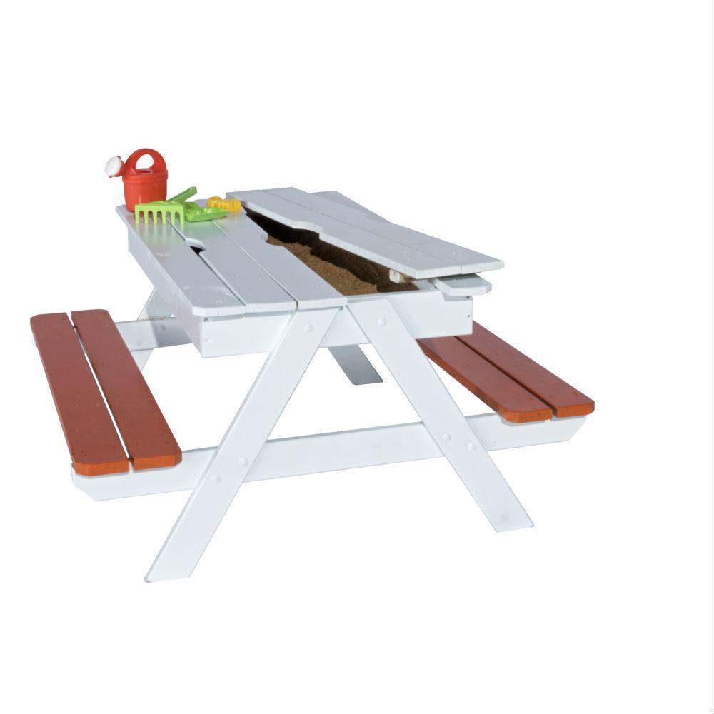 table pique nique bois avec bac a sable sous plateau amovible