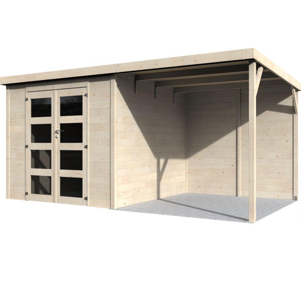 abri de jardin bois toit plat auvent delice 19 11 m ep 28 mm