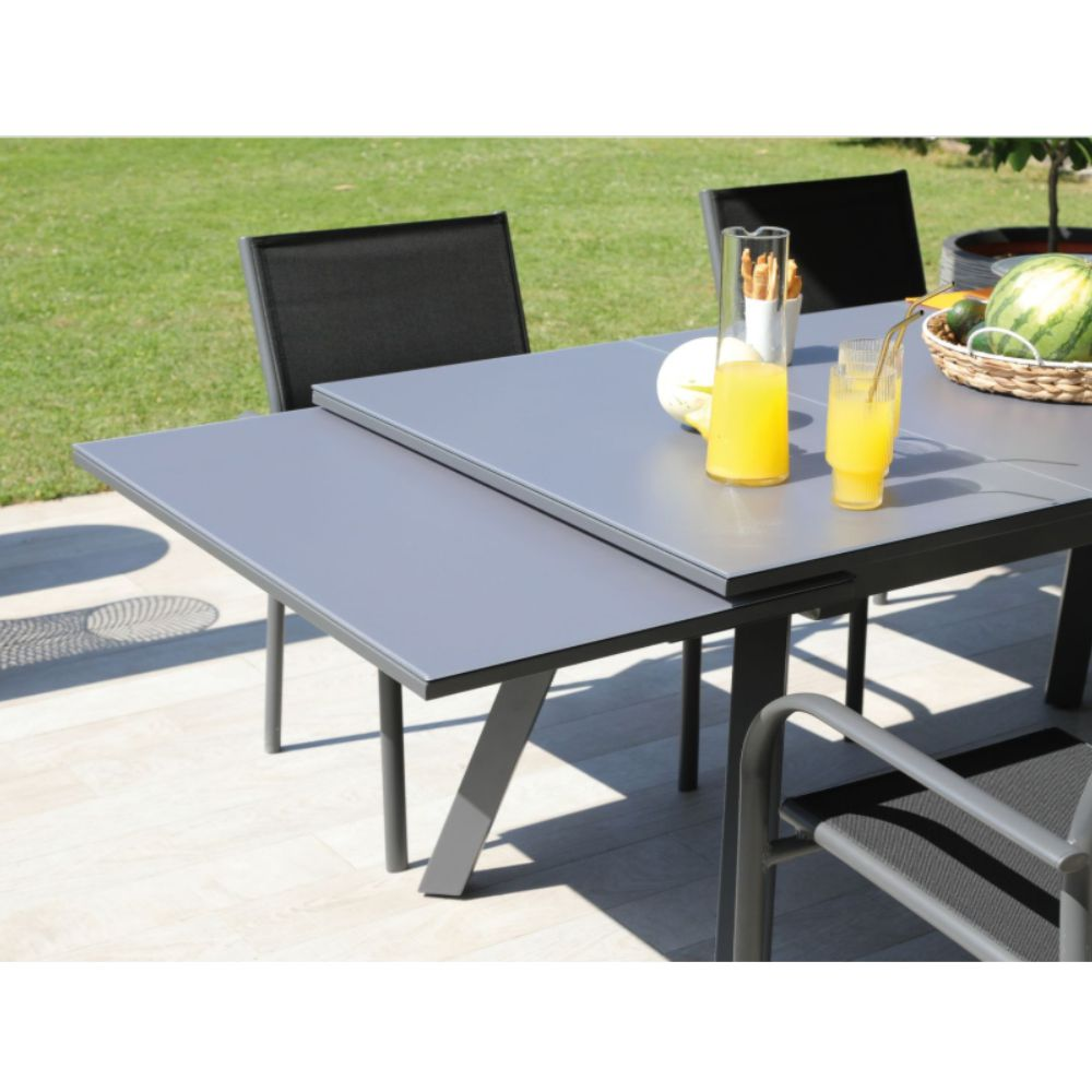 table de jardin aluminium et plateau verre avec rallonge 150 250 cm