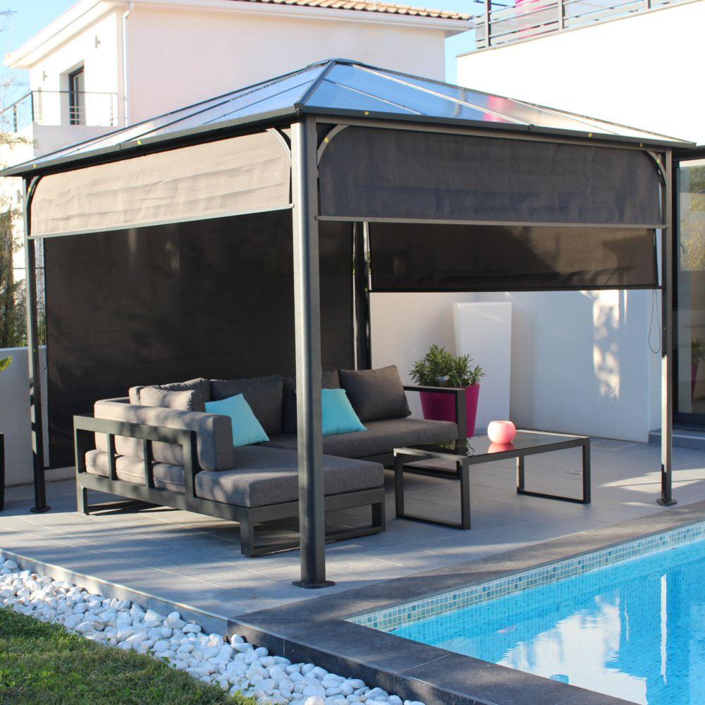 tonnelle autoportante aluminium toit polycarbonate 3x3 m ideal anthracite