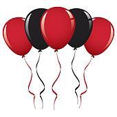 birthday balloons colored black
