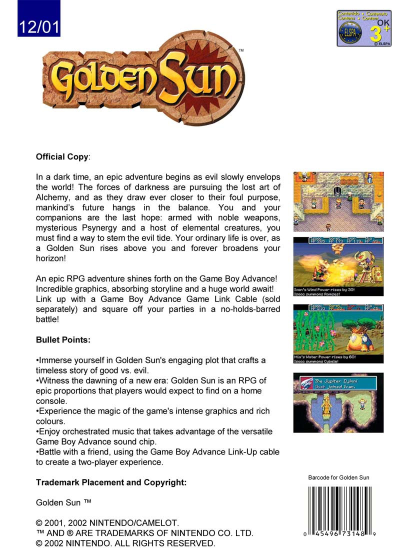 Golden Sun Sell Sheet