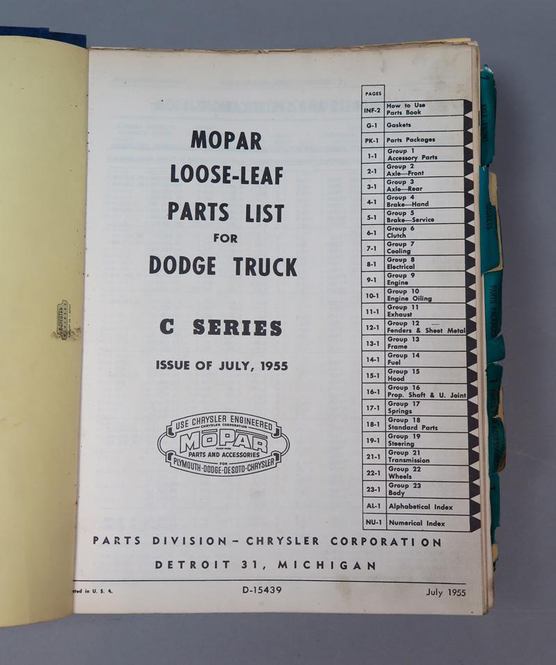 1955 Dodge Truck Parts Catalog