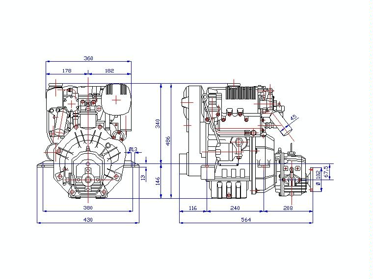 MOTOR DIESEL LOMBARDINI LDW 502 M (13 CV) + REDUCTORA TMC