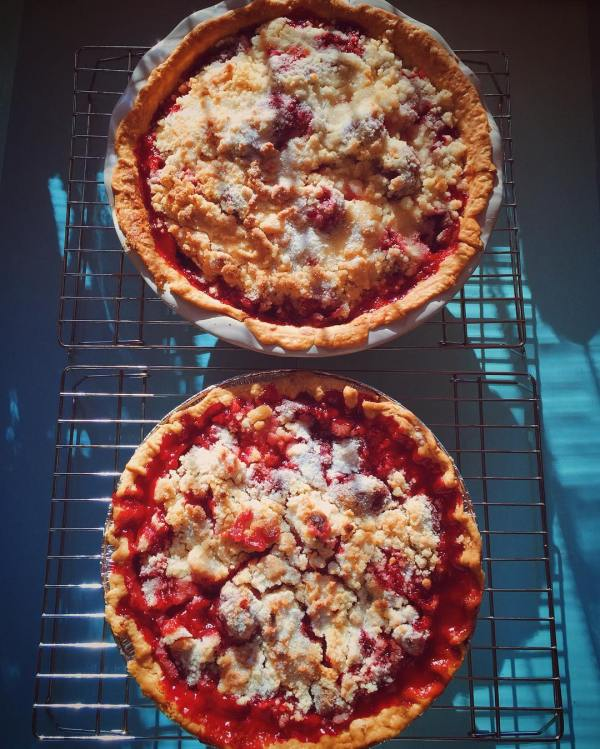 A departure from my standard apple pie. Sure hope it tastes as ridiculous as it looks. #strawberrypie
