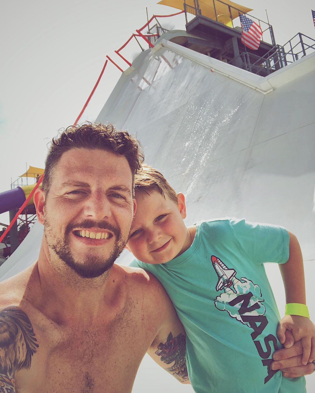 This crazy guy did this crazy slide with me a couple times today. And we did another slide 10 times in a row. It's tough work, but someone's gotta do it.