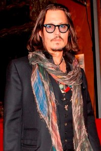 Johnny Depp wears only 2 scarves at David Furnishs 50th ...