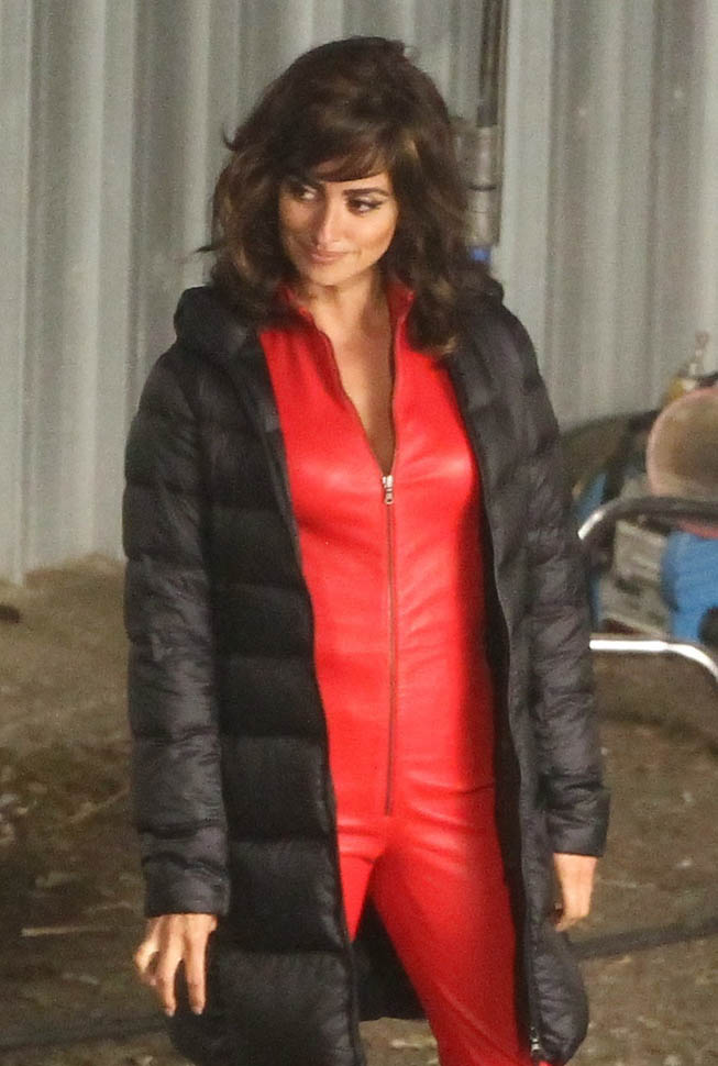 Penelope Cruz in red jumpsuit on the set of Zoolander 2 in