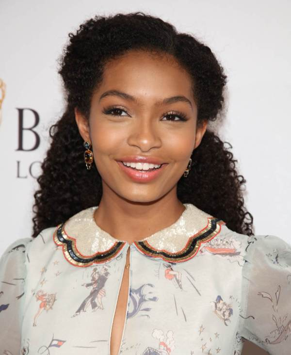 Yara Shahidi' White And Gold Dress 2016 Emmy Awards