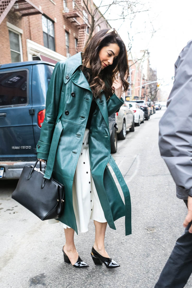 Amal Clooneys green leather jacket Lainey Gossip Lifestyle