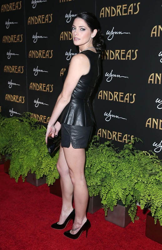 Ashley Greenes leather peplum at Andreas Restaurant grand opening at the Wynn in Las Vegas