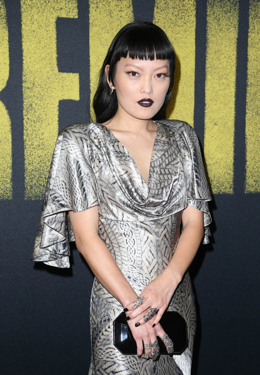 Hana Mae Lees silver dress and high fashion mullet