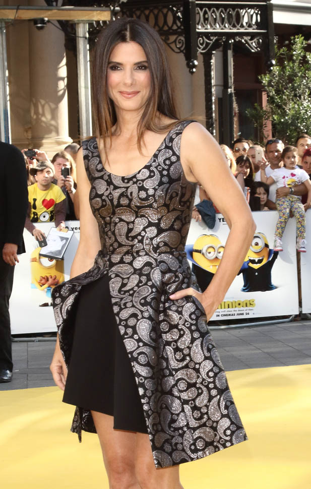 Carpets  Candids Sandra Bullock makes the dress at Minions premiereLainey Gossip Lifestyle