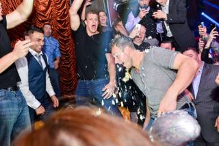 New England Patriots tight end Rob Gronkowski parties at Surrender on Saturday, Feb. 28, 2015, in Encore.
