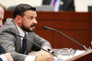 Lobbyist John Piro, representing the Clark County Public Defenders Office, testifies during a Senate Judiciary Committee hearing in Carson City on Friday, June 2, 2017.