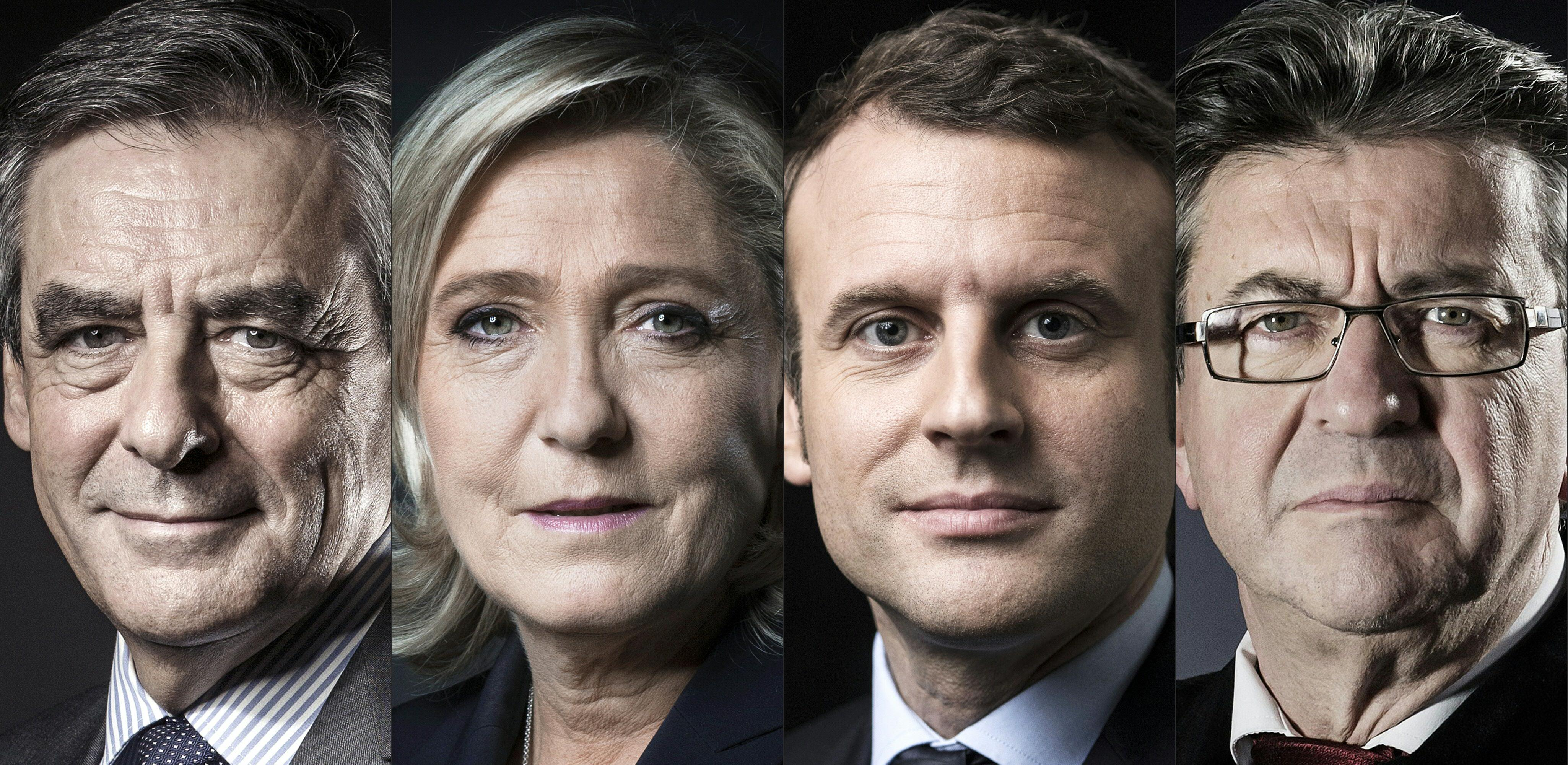 Image result for fillon le pen macron melenchon