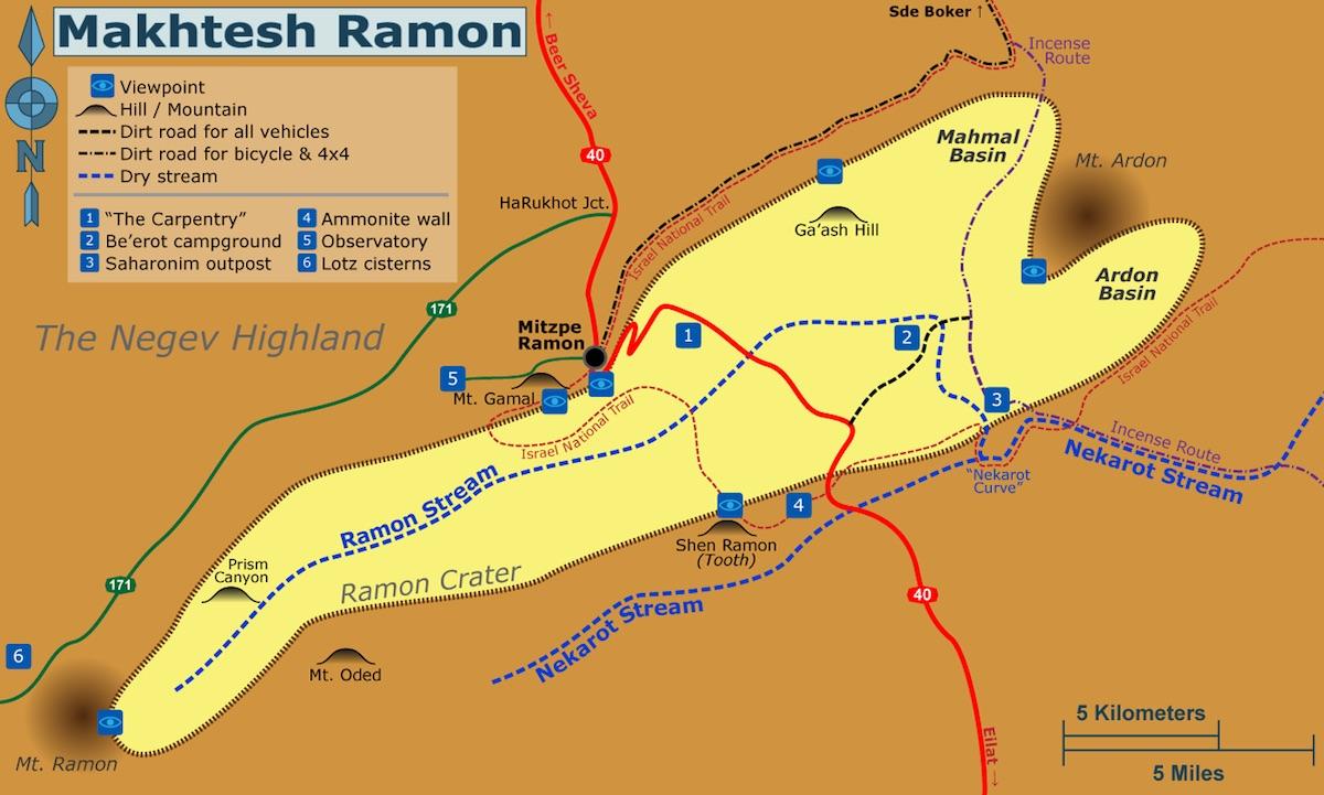 Махтеш Рамон, карта | LookAtIsrael.com - Фото путешествия по Израилю