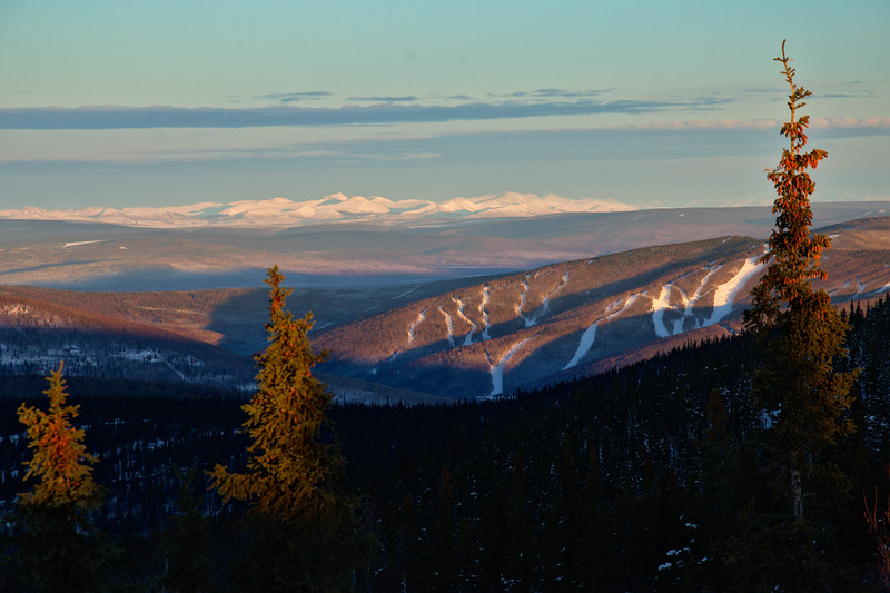 Gorgeous light on the hills and a spectacular view of the White Mountains and Moose Mountain ski area.