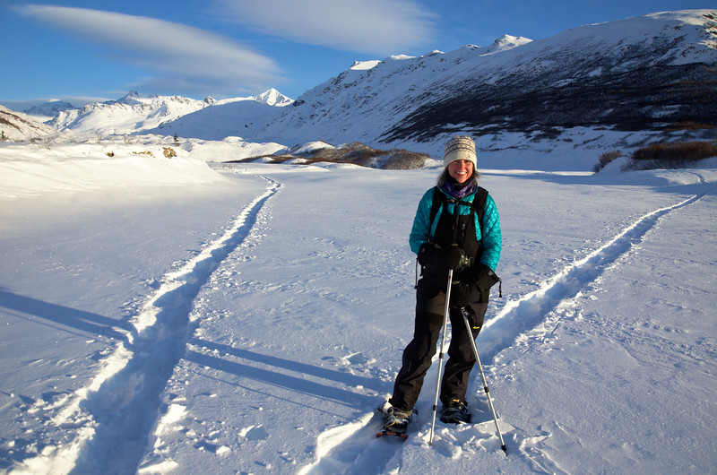 We wound doing a 4 mile ski/snowshoe up the north side of the creek and traversed the toe of the glacier to the southern end.