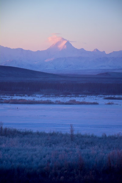 Morning light on Mt. Hayes - looking over the mostly frozen Tanana River.