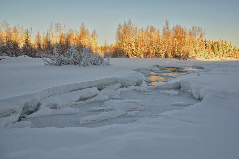 Some open water on the Chena River at the end of January near Granite Tors