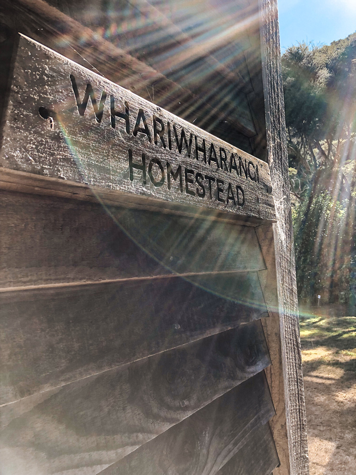 A close-up shot of Whariwharangi Homestead, a home built by John William Handcock on land he leased from Maori owners in 1898.  He lived on the site with his wife and children for 15 years.