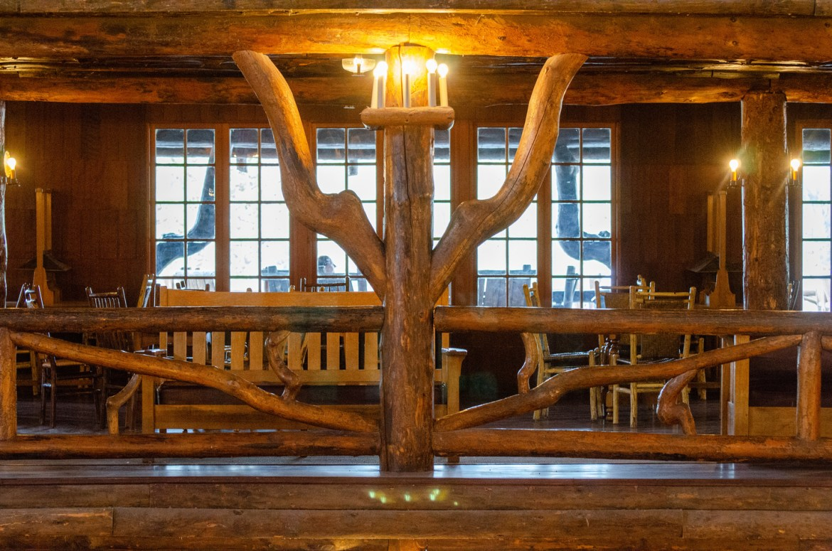 High Resolution Picture: Yellowstone's Old Faithful Inn. An interior view of Yellowstone National Park's Old Faithful Inn. Lodgepole Pine beams support the high roof structure inside the iconic Lodge near the Old Faithful Geyser.
