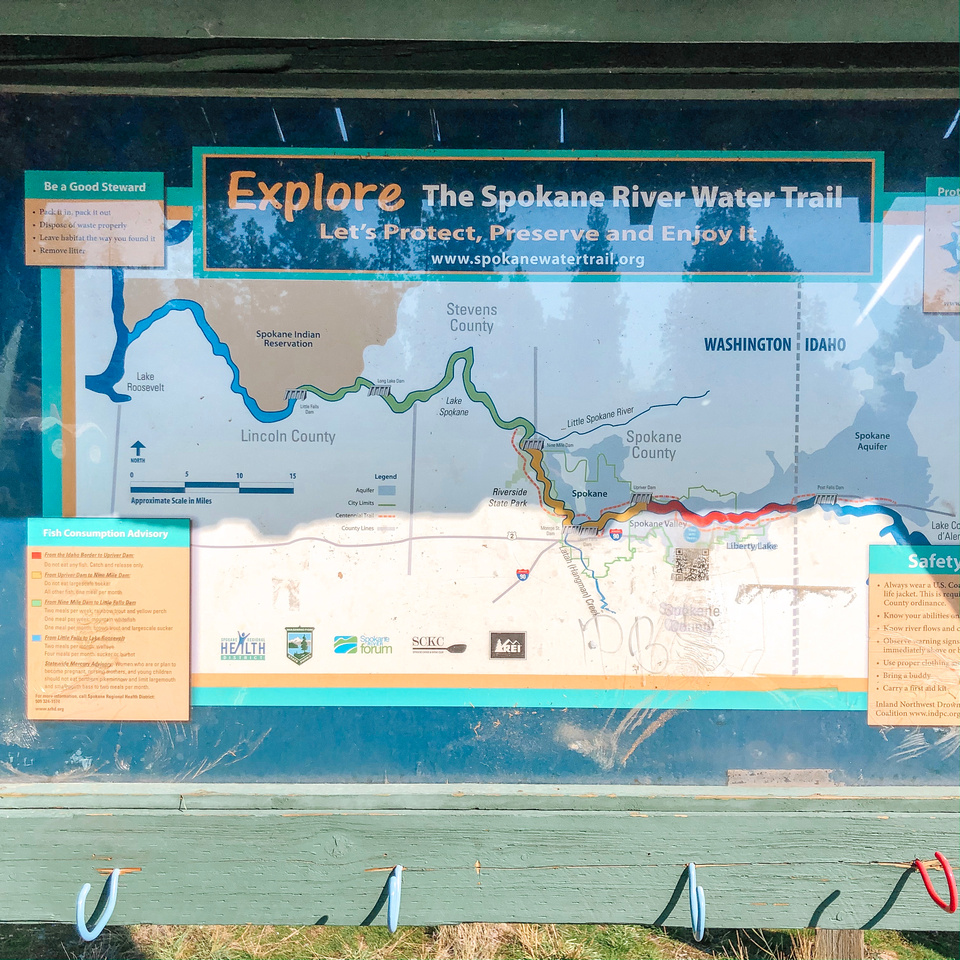 A map of the Spokane River Water Trail and Centennial Trail.