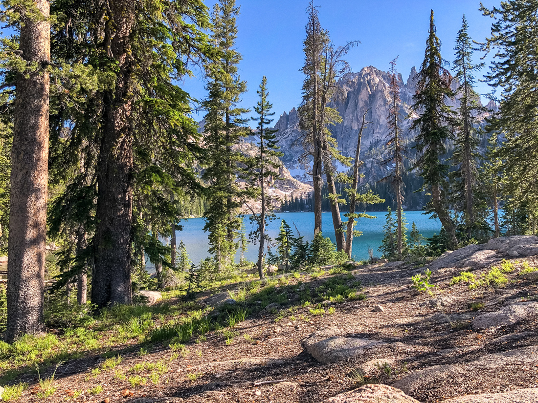 Best Baron Lakes Idaho Hikes - Grandjean Campground and Trailhead to Redfish Lake.  Camp sites among alpine trees on Baron Lake's north shore, looking south toward Sawtooth Mountain peaks and Upper Baron Lake.