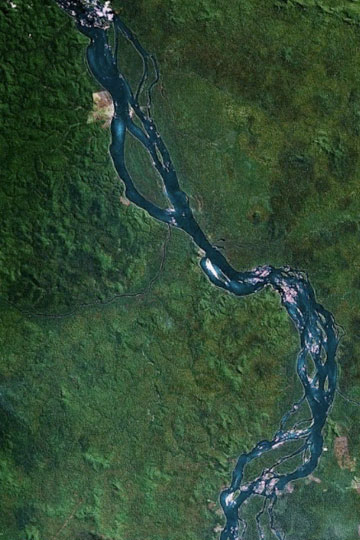 A section of the Xingu River as viewed by Google Earth