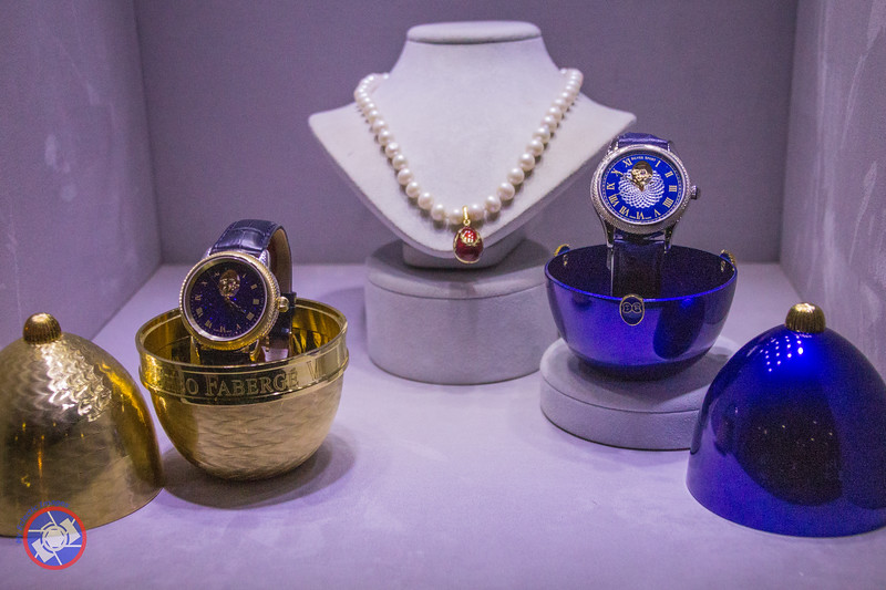 Two Fabergé Eggs Containing Watches and a Small Piece of Fabergé Jewelry Available for Purchase on Board the Westerdam (©simon@myeclecticimages.com)