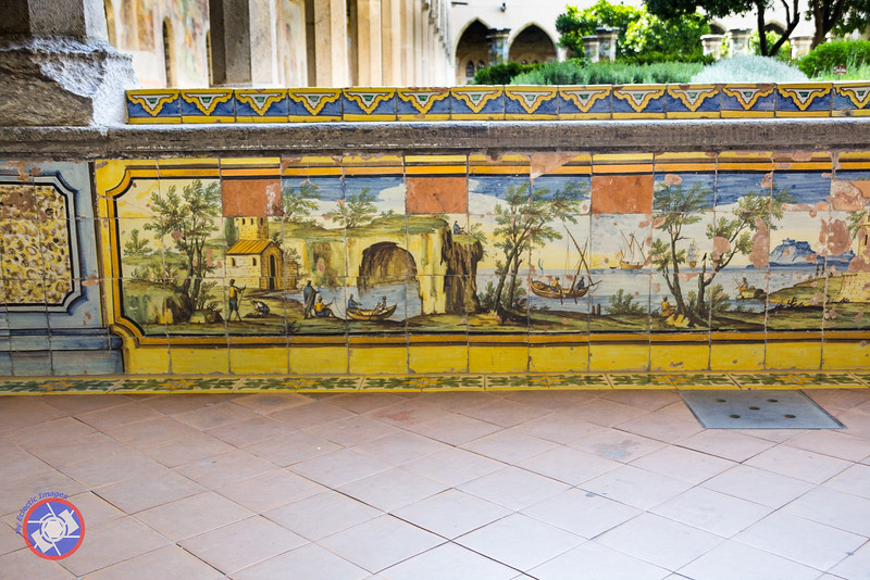 Hand-Painted Majolica Tiles in the Cloisters of the Santa Chiara Complex (©simon@myeclecticimages.com)