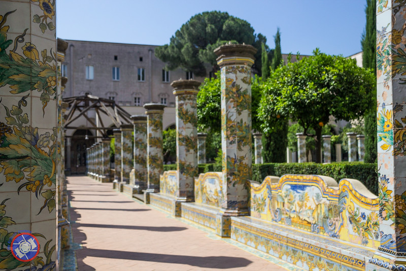 Columns of Hand-Painted Majolica Tiles in the Cloisters of the Santa Chiara Complex (©simon@myeclecticimages.com)