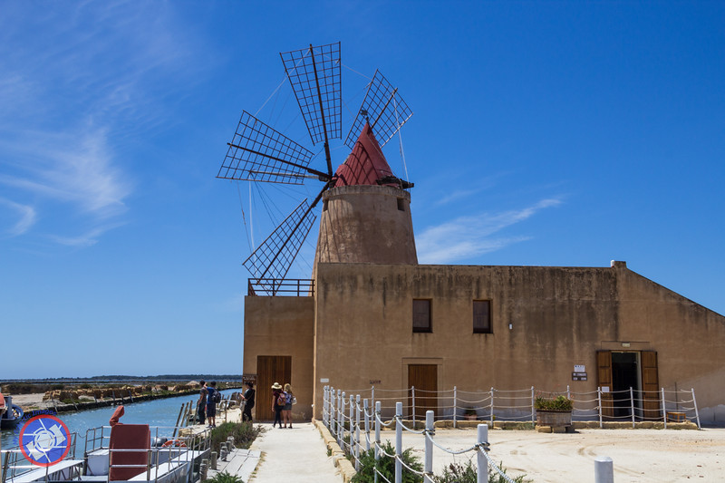 Wind Mill and Museum Building at the Salt Ponds, Marsala, Sicily (©simon@myeclecticimages.com)