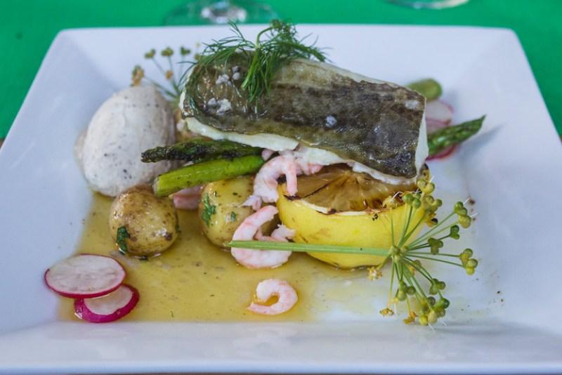 Artfully Presented Cod Served for Dinner at Nässlingen Resort (©simon@sixlegswilltravel.com)