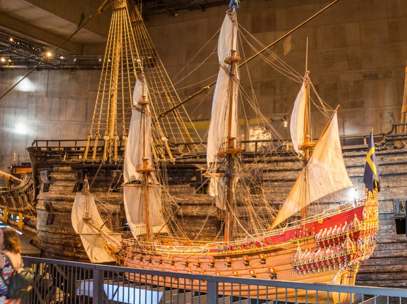 A Model of the Vasa with Part of the Real Vasa in the Background (©simon@myeclecticimages.com)