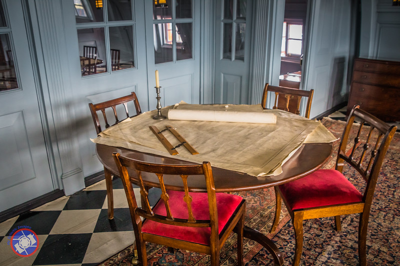 A Beech Table with Navigation Charts Aboard HMS Victory (©simon@myeclecticimages.com)
