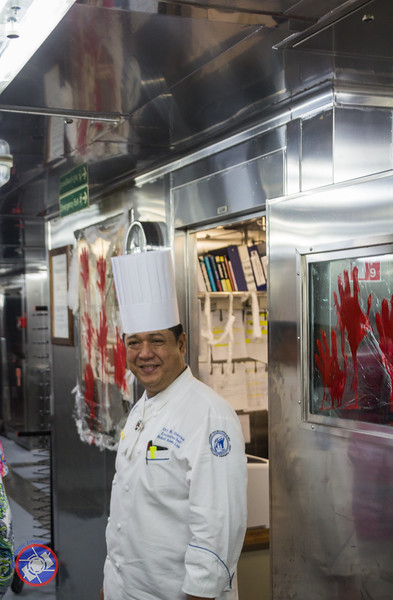 Executive Chef Orley Standing Outside His Office in the Galley of the Westerdam (©simon@myeclecticimages.com)