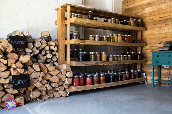 Stock of Canned Produced at the Wood Pile for the Smoker at the Millworks Restaurant, Harrisburg, PA (© simon@MyEclecticImages.com)