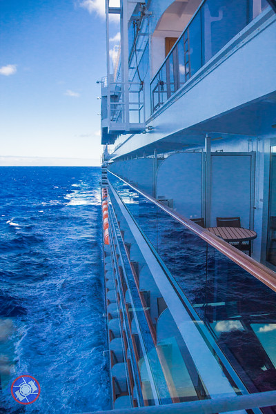 Looking Aft from the Starboard Fly Bridge of the Westerdam with a Clear Line of Sight Down the Entire Length of the Ship (©simon@MyEclecticImages.com)