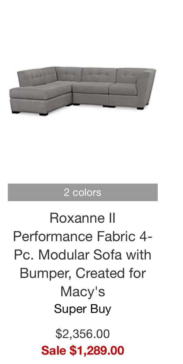roxanne 4 piece modular sectional