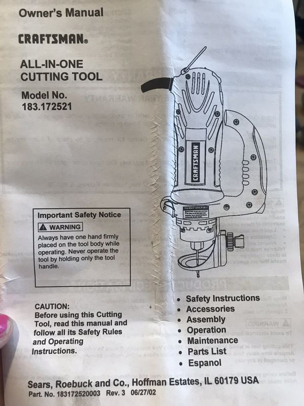 Craftsman All In One Cutting Tool Manual