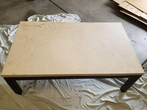 barrel parsons travertine coffee table