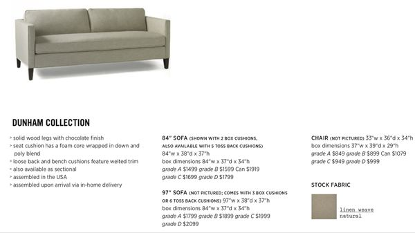 dunham sofa grey fabric singapore west elm 84 in natural linen weave with chocolate wood 450
