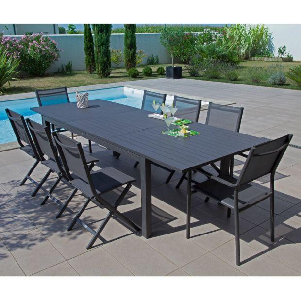 Table de jardin Trieste aluminium l200280 L103 cm gris