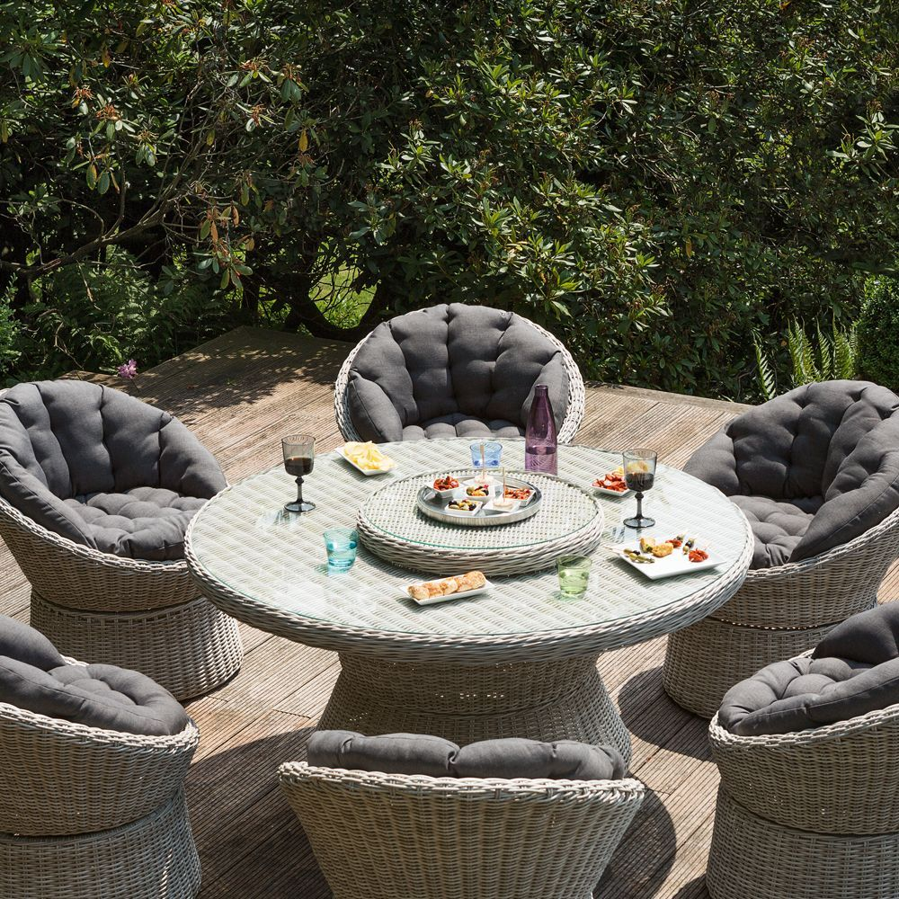 Salon de jardin rsine Kettler Barcelona  6 fauteuils  1 table  Plantes et Jardins