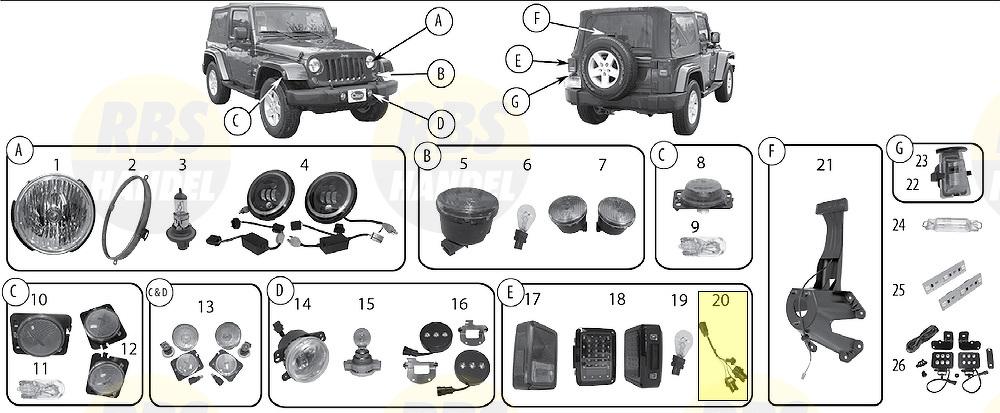 Tail Light Wiring (No CEE) Izquierdo Derecho Jeep JK
