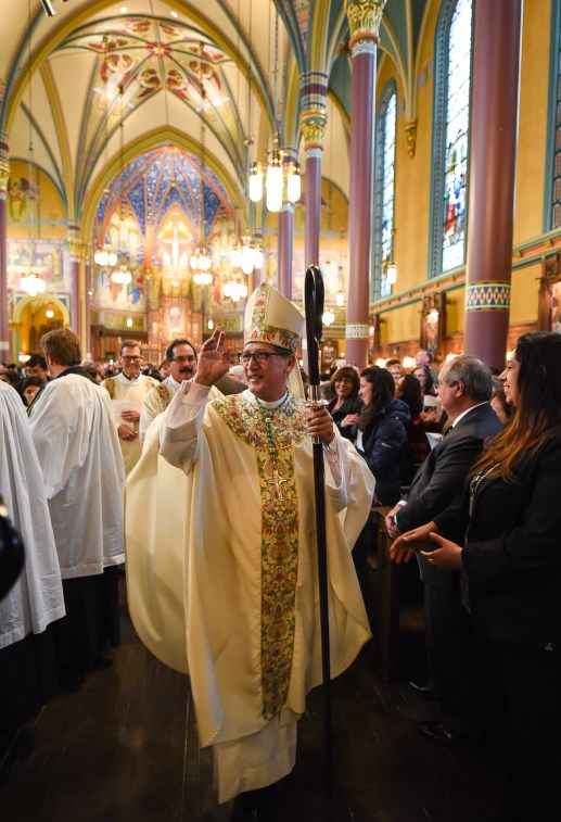 Francisco Kjolseth | The Salt Lake Tribune Bishop Oscar A. Solis greets the congregation following his installment as the 10th bishop of the Diocese of Salt Lake City at the Cathedral of the Madeleine on Tuesday, March 7, 2017.