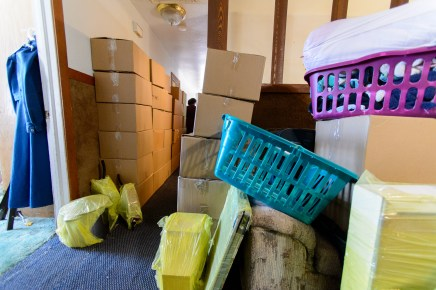 An FLDS family's belongings are boxed up in preparation for a move after the home was posted for eviction by the UEP Trust.